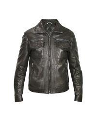 FORZIERI   Men's Black Genuine Leather Motorcycle Jacket for Men   Lyst