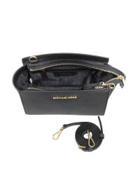 Michael Kors - Selma Medium Black Saffiano Leather Messenger - Lyst