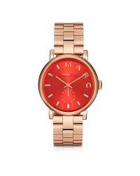 Marc By Marc Jacobs | Metallic Baker Bracelet 36mm Red Dial Rose Gold Steel Women's Watch | Lyst