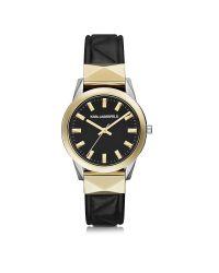 Karl Lagerfeld Metallic Labelle Stud Klassic Black And Gold Women's Watch