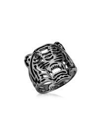 KENZO | Metallic Ruthenium Plated Sterling Silver Cut Out Small Tiger Ring | Lyst