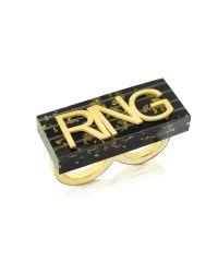 MM6 by Maison Martin Margiela - Black & Gold Resin Ring - Lyst