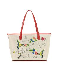 Love Moschino | Natural Canvas And Red Eco Leather Tote W/embroidery I Love You | Lyst