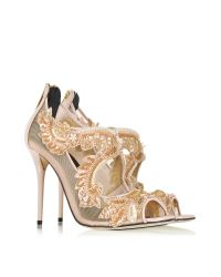 Oscar de la Renta | Natural Ambria Bisque Mesh And Patent Leather High Heel Sandal | Lyst