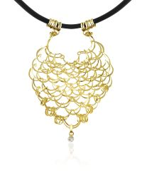 Orlando Orlandini | Scintille - Diamond Drop 18k Yellow Gold Net Necklace | Lyst