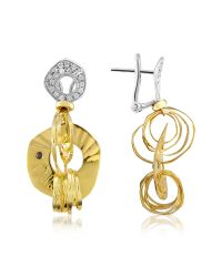 Orlando Orlandini | Metallic Fashion - Diamond 18k Two-tone Gold Drop Earrings | Lyst