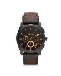 Fossil | Machine Mid-size Chronograph Brown Leather Men's Watch for Men | Lyst