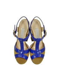 L'Autre Chose - Cobalt Blue Patent Leather And Green Pepper Suede Platform Sandal - Lyst