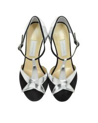 L'Autre Chose - Black Suede And Silver Patent Leather Sandal - Lyst