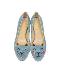 Charlotte Olympia | Blue Emoticats Elephant Grey Velvet Cheeky Kitty Flats | Lyst