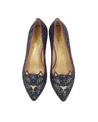 Charlotte Olympia - Mid-century Kitty Night Sky Blue And Amethyst Glitter Pointy Flat - Lyst
