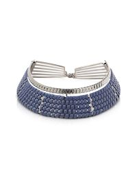 Pluma | Brass W/navy Blue Woven Leather Choker In Fumoso | Lyst