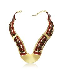 Pluma | Red Brass Woven Leather Necklace In Gold, Burgundy And Brown | Lyst