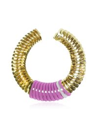Pluma - Purple Gold, Pink And White Fishbone Necklace - Lyst