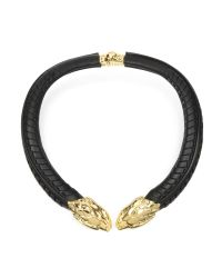 Roberto Cavalli | Metallic Serpent Black Leather And Gold Tone Metal Necklace | Lyst