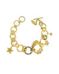 Roberto Cavalli | Metallic Lion Golden Metal Bracelet W/crystals | Lyst