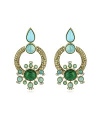 Roberto Cavalli | Metallic Bohemian Gold And Turquoise Clip-on Earrings | Lyst