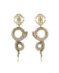 Roberto Cavalli | Metallic Golden Brass Snake Earrings W/crystals | Lyst