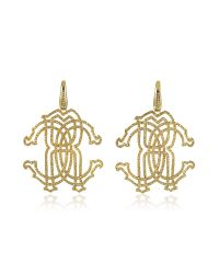 Roberto Cavalli - Metallic Rc Icon Gold Tone Metal Earrings W/crystals - Lyst