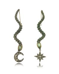 Roberto Cavalli | Snake Metal And Green Stone Earrings | Lyst