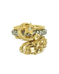 Roberto Cavalli - Metallic Circus Golden Metal Ring W/crystals - Lyst