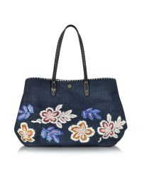 Tory Burch | Blue Kerrington Tory Navy Straw Square Tote | Lyst