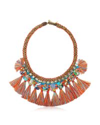 Tory Burch - Orange Macrame Statement Necklace W/tassels And Beads - Lyst