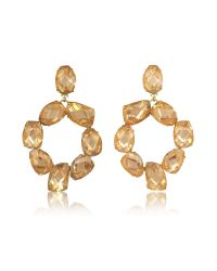 Tory Burch - Blossom Pink And Vintage Gold Stone Abstract Wreath Clip-on Earrings - Lyst