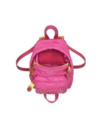 Moschino - Pink Fuchsia Quilted Nylon Mini Backpack W/logo - Lyst