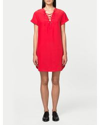 FRAME - Red Lace Up Dress - Lyst