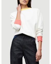 FRAME White Color Blocked Sweatshirt
