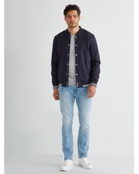 Frank And Oak - Blue Light Poplin Snap Button Bomber In Navy for Men - Lyst