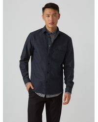 Frank And Oak - Blue Stretch-cotton Overshirt In Flecked Navy for Men - Lyst