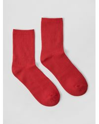 Frank And Oak - Mid-calf Ribbed Socks In Red - Lyst