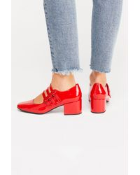 Free People - Red Jade Block Heel By Jeffrey Campbell - Lyst