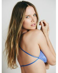 Free People - Blue Essential Lace Racerback - Lyst