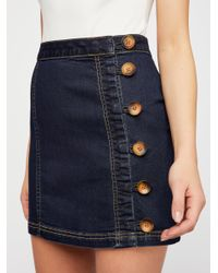 Free People - Blue Little Daisies Mini Skirt - Lyst