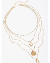 Free People - Multicolor Delicate Tiered Stone Necklace - Lyst
