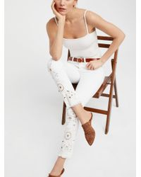 Free People White Cutwork High-rise Cigarette Jeans