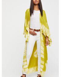 Free People - Yellow Spellbound Tie Dye Kimono - Lyst