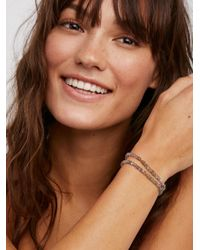 Free People | Brown 14kt Labradorite & Leather Wrap | Lyst