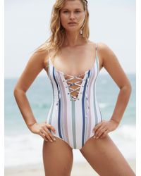 Free People - Blue Striped Monahan One-piece Swimsuit By Tavik - Lyst