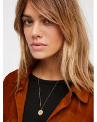 Free People | Brown Engraved Medallion Necklace | Lyst