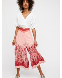 Free People - Red Off The Grid Printed Culottes - Lyst