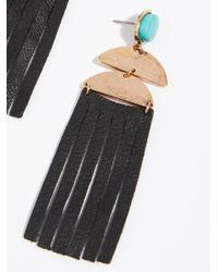 Free People - Black Western Leather Earrings - Lyst