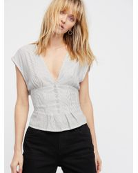 Free People - Blue Here I Am Stripe Top - Lyst