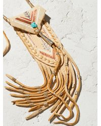 Free People - Metallic Accessories Designer Jewelry Turquoise & Leather Medicine Bag Necklace - Lyst