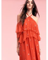 Free People | Red Mila Cold Shoulder Maxi Dress | Lyst