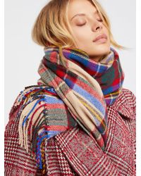 Free People - Multicolor Accessories Scarves Evie Plaid Fringe Scarf - Lyst