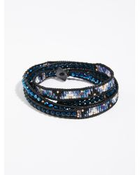 Free People - Blue Shimmer Wrap Bracelet - Lyst
